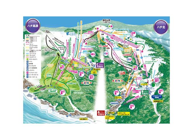 ハチ高原&ハチ北スキー場(ハチ北イン) ゲレンデ地図