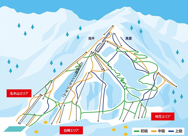 白馬八方尾根スキー場 ゲレンデ地図