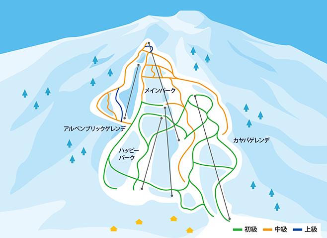 妙高池の平温泉スキー場 ゲレンデ地図