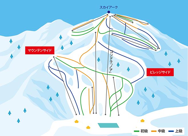 白馬岩岳スノーフィールド ゲレンデ地図