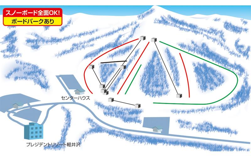 軽井沢スノーパーク ゲレンデ地図