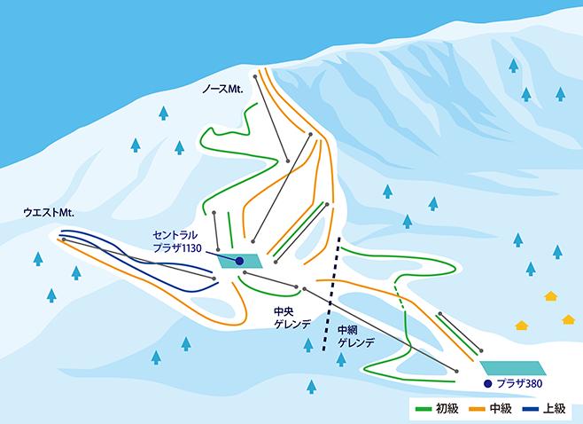 鹿島槍スキー場 ゲレンデ地図
