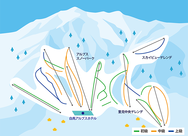 白馬乗鞍温泉スキー場 ゲレンデ地図