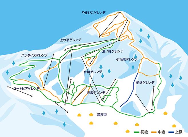 野沢温泉スキー場 ゲレンデ地図