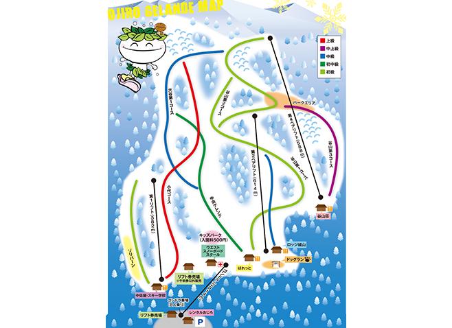 おじろスキー場 ゲレンデ地図
