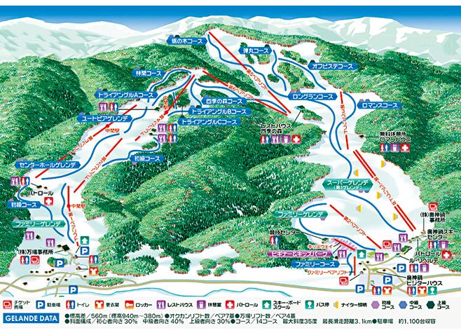 万場スキー場 ゲレンデ地図