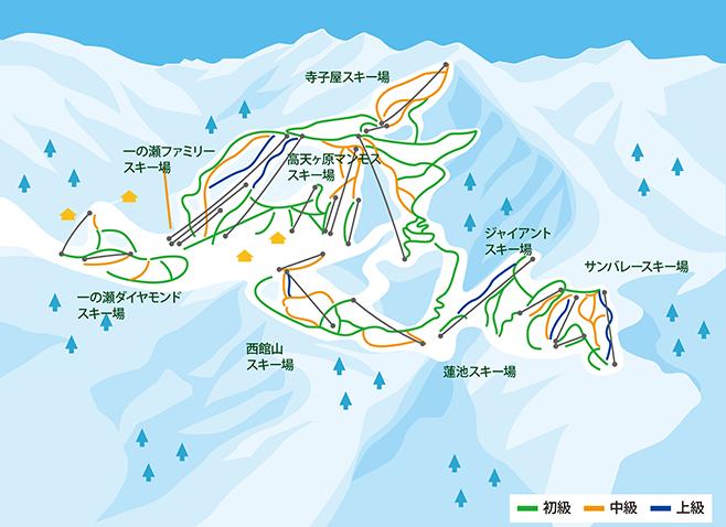 志賀高原スキー場(リゾート開発中央部エリア) ゲレンデ地図