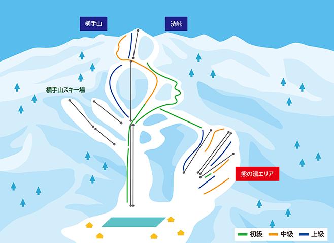 志賀高原スキー場(横手山・渋峠エリア) ゲレンデ地図