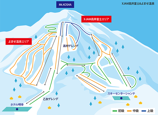 X-JAM高井富士スキー場 ゲレンデ地図