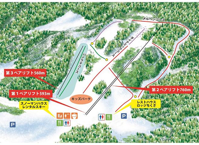 ちくさ高原スキー場 ゲレンデ地図